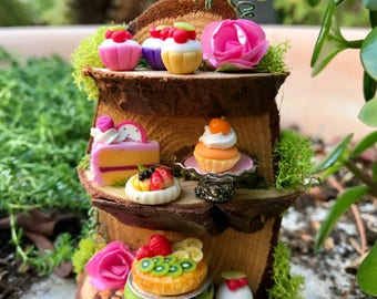 Fairy bakery shelf, miniature pastries and cakes, fairy food
