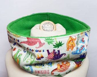 Girls Infinty Tubular Scarf Boys Scarf Dinosaur Fabric Dinosaur Scarf Green Fleece Lined Scarf Neck