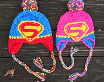 SALE! READY to Ship!Crochet Superman Hat, Super girl hat,baby hat,toddler hat,children hat,crochet hat, superhero hat,handmade hat, pom hat
