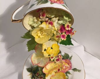 Peace Rose - a beautiful tablecentre piece made from handpainted silk flowers cascading down from Vintage bone China