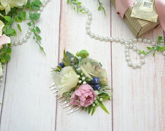 Gift/for/mom Hair accessories White hair comb Pink flower comb Winter wedding Flower hair style Barn wedding Boho headpiece Flower comb pink