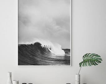 Wave Print, Affiche Scandinave, Black and White Waves, Ocean wall art, Wave Wall Art, Ocean Waves Art, Minimal Print, Scandinavian Prints