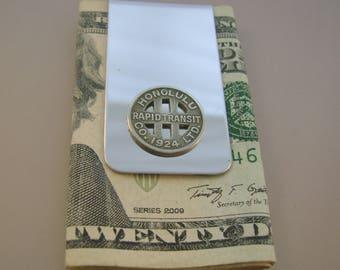 Aloha - Vintage Authentic 1924 Honolulu Hawaii Transit Token Money Clip Man Gift, Wedding, Groomsman Gift, Fathers Day Gift