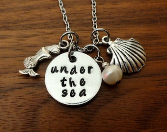 The little mermaid inspired necklace-Under the Sea Necklace-Disney's the Little Mermaid inspired-Mermaid Jewelry