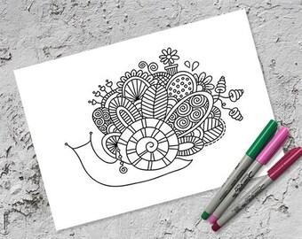 Snail Doodle Colouring Page | Instant Digital Download | Original Doodle Design