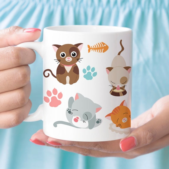Coffee Mug Cute Kitty Cat Coffee Mug Funny Cat Lover Ceramic Cup Microwave and Dishwasher Safe Coating Made in the USA