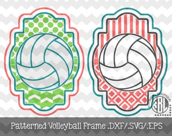 Volleyball Patterned Frame design INSTANT DOWNLOAD in dxf/svg/eps for use with programs such as Silhouette Studio and Cricut Design Space