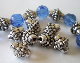 24 silver antiqued metal beads 8mm 10mm 2mm jewelry supplies HP 105(SR8),