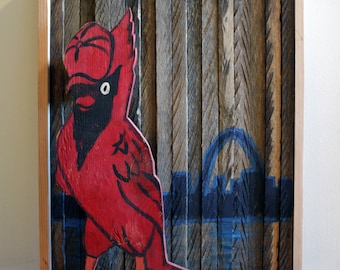 Reclaimed Wood St Louis Cardinals Baseball Sign Angry Birds