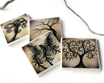 Earthy Brown  Enchanted Tree Decorative Tile Drink Coasters, Earth Tones Table Decor, Set of 4