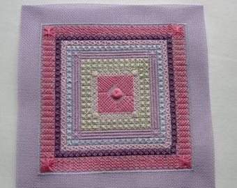 ON SALE vintage cross stitch needlepoint sampler purple, pink, blue, yellow - not framed