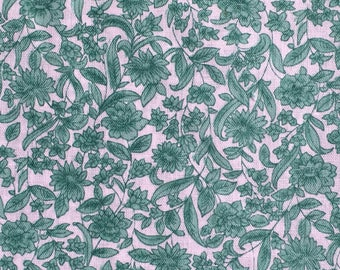 Cotton Fabric / Green Floral Cotton Fabric / Vintage Green Floral Fabric / Green and White Floral Fabric /