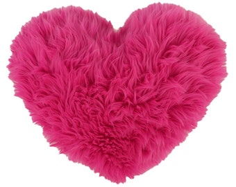 Valentine's Gift - Hot Pink Faux Fur Heart Shaped Decorative Pillow - Small Size