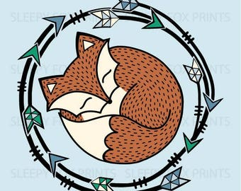 The Sleepy Fox Print, kids room,digital art, tribal, nursery art, boys room art, woodland, 3 for 2