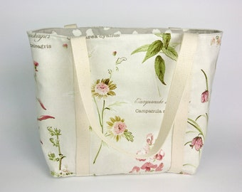 Floral Purse, Purse with Handle, Floral Handbag, Large Purses for Women, Floral Fabric Bag, Gift for Her Birthday, Fabric Handbags for Women