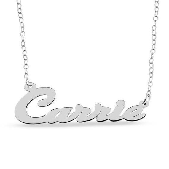 Slanted Script Name Necklace in Sterling Silver (1 Line)