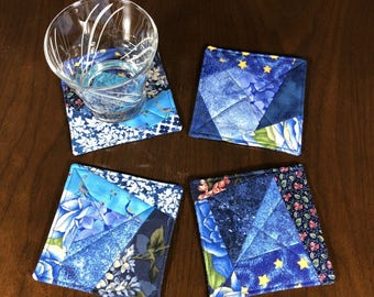 Crazy Quilt Coasters, Set of 4 Beverage Coasters, Blue Quilted Coasters, Wine Glass Coaster Set, Four Fabric Coasters, Blue Handmade MugRugs
