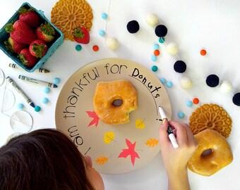 Kids Fall Thanksgiving Thankful Plate Melamine - Childrens Holiday Dinnerware for Autumn Decor Thanksgiving Gift for Kids