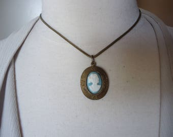 "Vintage Light Blue and White Plastic Cameo in Antique Brass Frame on 15"" Antique Brass Wheat Chain, Cameo Jewelry, Victorian Theme"