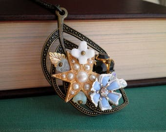 Floral Leaf Necklace - Vintage Star & Flowers Wire Wrapped Czech Glass Beads Boho Pendant - Retro Flower Collage Bib Necklace Jewelry Gift