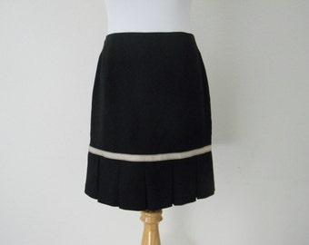 FREE usa SHIPPING Vintage 90s Black skirt polyester spandex MOD size 5/6