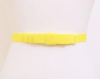 Buttercup Yellow Velvet Bow Belt