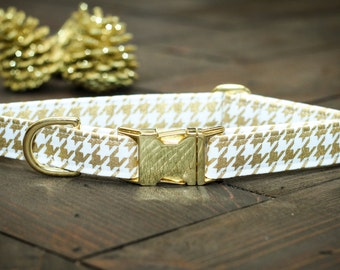 Gold Dog Collar - Houndstooth, Christmas, Metallic Gold and White - Metal Buckle