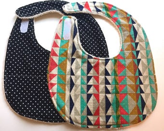 Organic Cotton Terry Baby Bibs - Set of 2   -geo dots