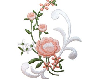 ID 6838 Pink Flower Bouquet Patch Blossom Garden Embroidered Iron On Applique
