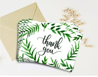 Greenery thank you card template Botanical wedding thank you tag Leaves thank you note Tropical wedding thank you card printable - DIGITAL