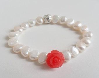 Pink Rose Coral, Rhinestone and Pearl Bracelet - Freshwater Pearl, Stretchy Bracelet, Girl Bracelet, Flower Bracelet, Bridesmaid Gift