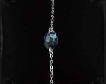 Bracelet silver and denim blue cabochon