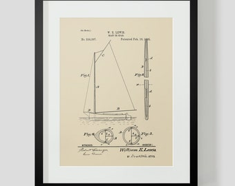Sailboat Boat Sailing Ocean Ship Mast Patent Print