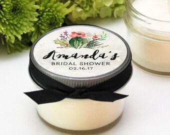 Set of 12 - 4 oz Soy Candle Bridal Shower Favors | Cactus Flower Label Design | Succulent Shower Favors | Cactus Shower Favor | ANY OCCASION