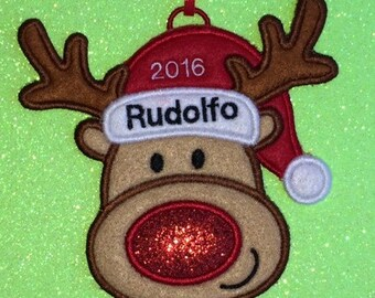 Personalized Rudolph Reindeer Christmas Ornament or Gift Tag