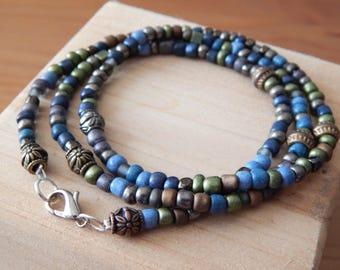 Blue/green Beaded Wrap Bracelet