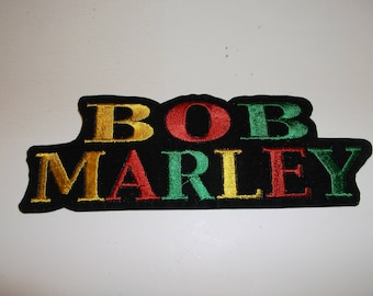 "Bob Marley Jamaica Reggae Patch Embroidered Applique~5"" x 1 3/4""~Red Gold Glam Rock and Roll~Iron Sew On~FREE US Mail~One Day Handling"