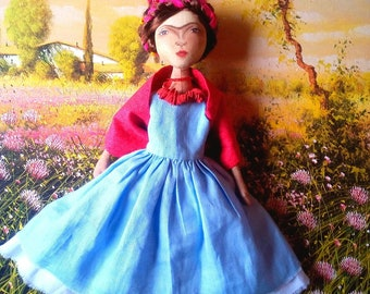 Frida Handmade Artistic Textile Soft Doll.
