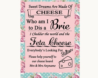 Vintage Shabby Chic Rose Cheese Board Song Personalised Wedding Sign