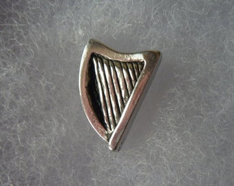 Harp lapel pin, tie pin, brooch, pin badge / Irish / lapel pins men /  Made in pewter. Designed and handmade in Scotland by SJH Designs.