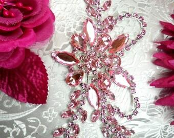 """XR127 Crystal Rhinestone Pink Ice Applique Embellishment 7.5"""" (XR127-pksl)"""