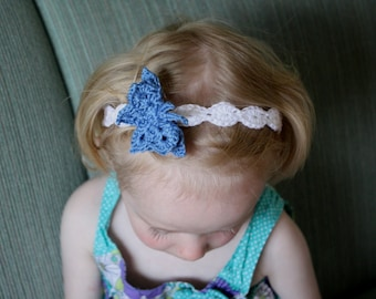 Shell Headband with Butterfly pdf PATTERN (digital download), newborn to adult sizes, crochet for girls/women