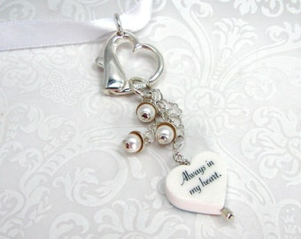 A Heart Shaped Wedding Bouquet Charm with Wedding Bell Dangles - XSM - BC13fa