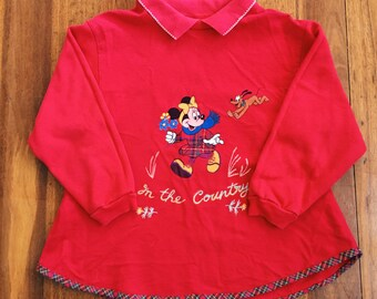 SALE !! Vintage Girls Minnie Mouse Red Sweater