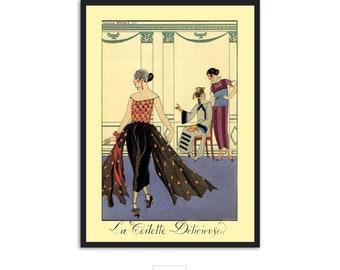 """Art Deco print vintage style fashion illustration, """"La Toilette Delicieuse"""" by George Barbier, IL025."""