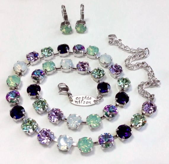 "Swarovski Crystal 8.5mm Necklace  ""MONET"" - Violets,Soft Green,Light Vitrail, Purple -Spring Shades - Feminine & Beautiful - FREE SHIPPING"