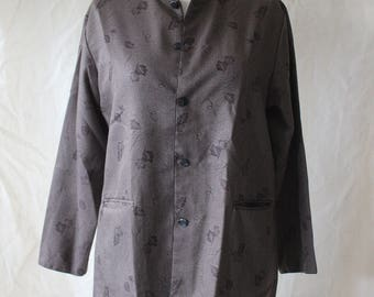 Vintage Printed Button Up Mandarin Collar Top //Chore Jacket // Small Medium