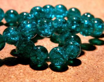 50 8 mm - emerald green - PF60 Crackle glass beads