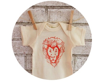 Lion Baby Onepiece, Hand printed  Baby One Piece Bodysuit, Wild Cat, Zoo Animal, Circus Party, Short Sleeved, Cotton Clothing, Infant