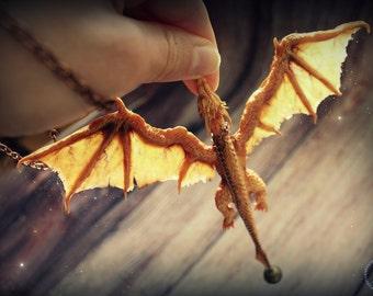 Golden Dragon Zerri polymer clay necklace fire dragon